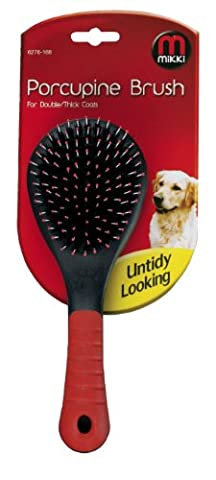 Mikki Grooming Porcupine Brush for Double/ Thick Coats, Large