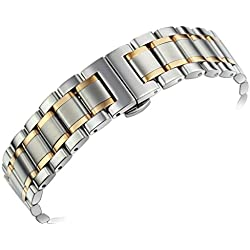 17mm Women's Luxurious 316L Two Tone Silver and Rose Gold Stainless Steel Metal Watch Wristbands Straps Straight End Quick Release Clasp