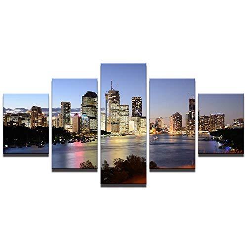 YYKWH Leinwand Malerei 5 Stücke Nordic Dekoration Neue Kunst Leinwand Malerei 5 Panel Australische Stadt Bei Nacht Landschaft Wand Für Wohnzimmer Bild Bild Poster 200X100 cm