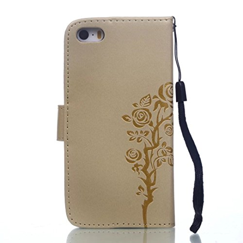 JIALUN-Telefon Fall Mit Kartensteckplatz, Lanyard, Druck Schönes Muster Mode Open Handy Shell Für IPhone 5S 5 SE ( Color : Gold , Size : IPhone 5S SE ) Gold