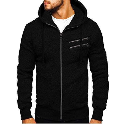 IFOUNDYOU Hoodie Männer Herren Winter Baumwolle Chic Kleidung Mantel Jacke Outwear Charme Patchwork Reißverschluss Elegante Sportbekleidung Rundhals Farbverlauf Pullover Sweatshirt Tops Hoodies