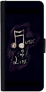 Snoogg Music Is My Life Graphic Snap On Hard Back Leather + Pc Flip Cover Sam...