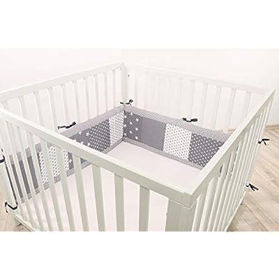 ULLENBOOM® Bumper- Grey Stars (200x 30cm Baby playpen Bumper, 100x 100cm playpen Bumper Pads for The Head Area)