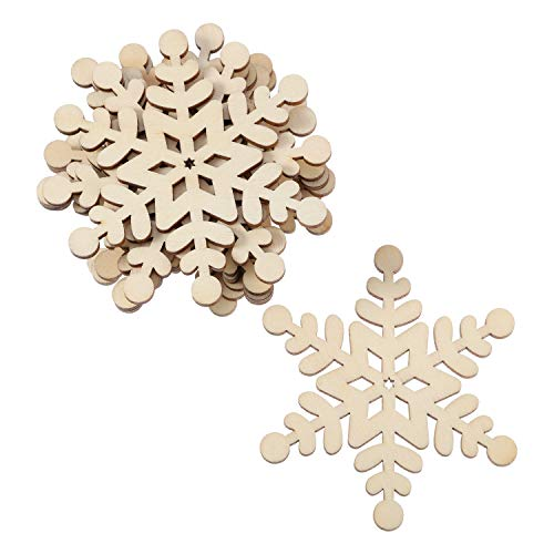 30 Pieces 8 cm Christmas Wooden Hexagon Snowflake Cutouts for Kids Crafts Christmas Tree Ornaments Hanging