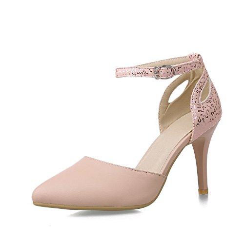 AllhqFashion Femme Matière Mélangee Pointu Stylet Boucle Couleur Unie Chaussures Légeres Rose
