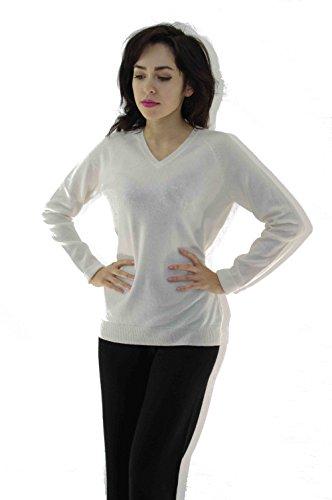 ZYPR Cashmere 100% Mongolei KASCHMIR Damen Pullover weiß Small 02-64 (Cashmere Brown Pullover)
