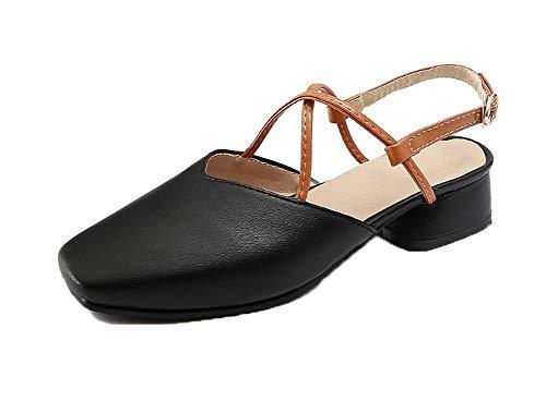 AgooLar Damen Schnalle Schließen Zehe Niedriger Absatz Gemischte Farbe Sandalen, Schwarz, 43