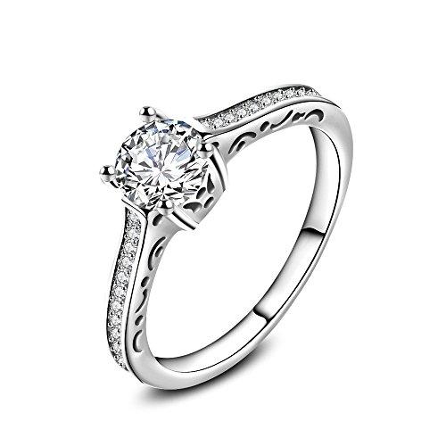 Skyllc Acier à la mode en or blanc plaqué en diamant Bagues de fiançailles Meilleur anneau de mariage pour femmes Filles Femmes
