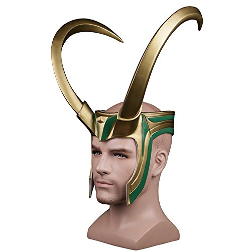 (K-Y YK Ragnarök Film 2017 Thor 3loki Rocky Helm Maske Halloween Loki Maske Cosplay PVC Maske Half Loki Helm & Gesicht Goldener Riesen Hörner Helm cos Hut Maske Requisiten Männlich)