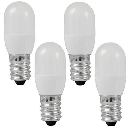 MENGS® 4 Stück E14 0.5W LED lampe 3x5050 SMD Für Kühlschrank Leuchtmittel Mit PC Mantel (60LM, Warmweiß 3000K, AC 220 - 240V, 180º Abstrahlwinkel, Ø20×54mm) Super energiesparend licht gut für die Wärmeabgabe