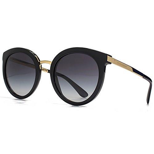 Dolce & Gabbana DNA-erreichte Runde Sonnenbrille in schwarz DG4268 501/8G 52 52 Gradient Grey (Dna-sonnenbrille)