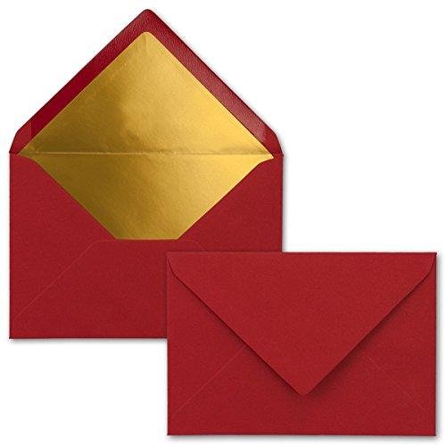 Kuverts in Dunkelrot | 75 Stück | Brief-Umschläge DIN C6 | Naßklebung | Matte Oberfläche & Gold-Metallic Fütterung - ohne Fenster - für Einladungen