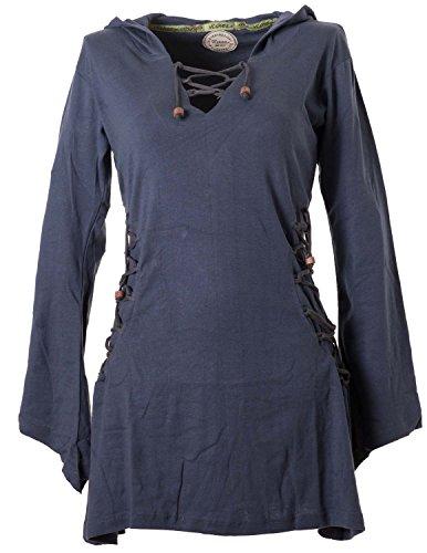 Vishes - Alternative Bekleidung - Elfenkleid mit Zipfelkapuze und Bändern zum Schnüren grau 36-38 (XS) (Goa Karneval Kostüm)