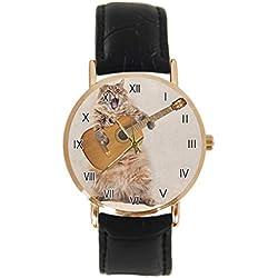Reloj de Pulsera con diseño de Gatos Divertidos, clásico, Unisex, analógico, de Cuarzo, con Caja de Acero Inoxidable, Correa de Cuero