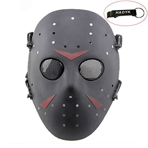 Kostüm Hockey Mädchen - haoYK Gesichtsmaske, Hockeymaske im Stile von Jason Vorheese, Schutzmaske als Kostüm für Halloween und Partys, Schwarz