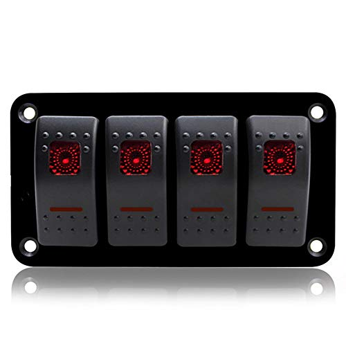 JesseBro76 4 Gang Car Marine Boat LED Switch Panel Breaker Rocker Switch Control Panel Black & red & Blue