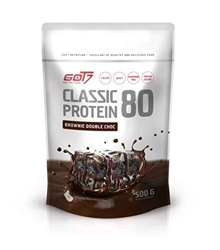 GOT7 Classic Protein 80 Eiweiß Proteinshake Eiweißshake Whey 60% Casein 20% Isolate Muskelaufbau Fitness Kraftsport Bodybuilding (500g Brownie Double Choc)... -