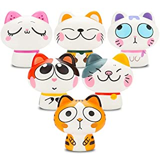 BEYUMI Kawaii Squishy Toy Cat 6pcs Smile Face, Adroit Cat,Daze Cat,Rolling Eyes Cat,Cream Scented Squishies Slow Rising Stress Relief Toy,Decorative Props