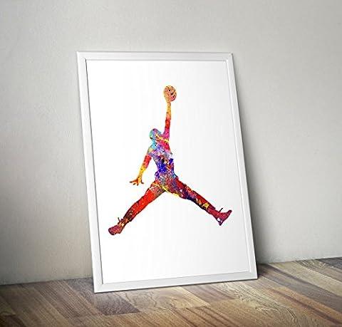 Michael Jordan Aquarelle inspirée A4 taille 8,3 x 11,7