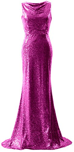 MACloth Women Sequin Bridesmaid Dress Mermaid Evening Formal Gown Fuchsia