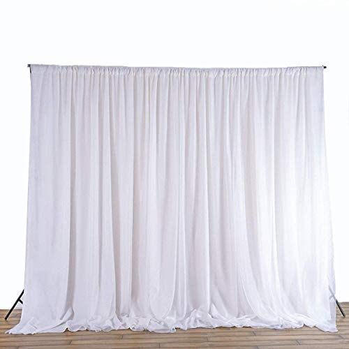 Weddecor Weiß EIS Seide Hintergrund Vorhänge ohne Girlande für Hochzeit, Party, Geburtstag, Ereignis,Weihnachten,Fotostudio,Spezial Festival,Fenster Dekoration,3 X 3 Meter - Ohne Girlande, 3 x 3m