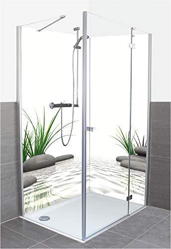 Wunschmaß Duschrückwand Fliesenersatz mit Motiv aus Aluminium Verbund für Eckdusche - Auf Maß - Größe Konfigurierbar Fotografie Natur