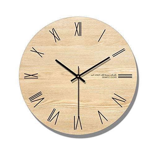 ALKLKJ Wanduhr Arabische Ziffer Design Runde Holz Digital Wanduhr Mode Stille Wohnzimmer Wand-Dekor Saat Dekoration Uhr Wand Geschenk
