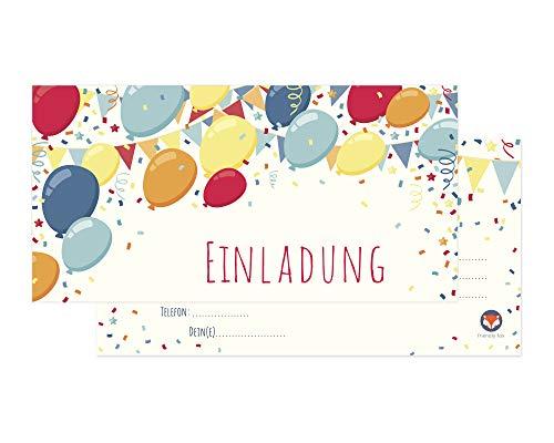 Friendly Fox Ballons Einladung Kindergeburtstag - 12er Set Einladungskarten Geburtstag Kinder inkl. 12 bunter Umschläge - Geburtstagseinladungen