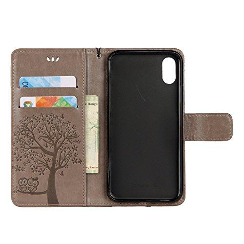 Cover iPhone X, Sportfun Custodia Portafoglio In Pelle Con Wallet Case Cover Per iPhone X con Porta Carte e Funzione Stand (08) 07