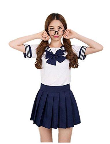 "JJPUNK Motto Party Karneval - Costume di carnevale da scolaretta sexy ""college school girl uniform"" (S-M, blu)"