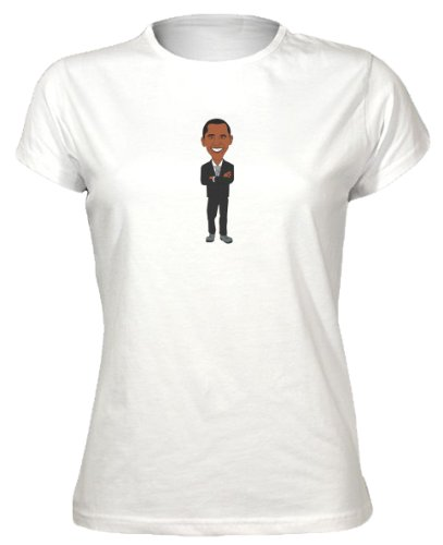 The Groovy Funk Damen T-Shirt Mit Aufdruck Präsident Barack Obama USA Politik Cartoon-Stil - Weiß XX-Large [DE: 42] (Obama T-shirt Barack Weißes)