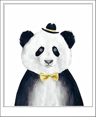 Haehne Modern Mr.Panda Toiles en coton Impression Oeuvres Peintures à l'huile Photo Imprimé sur toile Art mural pour les décorations maison à la chamber, 60 *90cm(23 *35Inch), Avec cadre