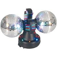 Naeve Leuchten 539261 Lampada da discoteca con rotore a specchio, 32 LED con gioco di colori, 12 V 600 mA 50 Hz, interruttore on/off, 36x21x21 cm, sfere 11 cm, specchi in plastica, con motore: colore: Nero - Sfera Nave