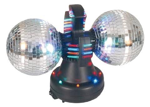 Naeve Leuchten Disco-Lampe / Tisch-Spiegel Rotor / 32 LED mit Farbwechsler / 12 V / 600 mA / 50 Hz / Ein Aus Schalter / 36 cm / 21 cm / ø 21 cm / Kugel - 11 cm / Spiegel Kunststoff / mit Motor, schwarz bunt 539261 - Sfera Nave