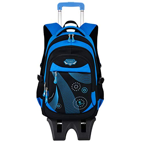 Zaino Scuola Trolley,Fanspack Zaino Trolley Scuola Elementare Borsa Zaino Con 6 Ruote Zaini per Bambini (Blu)