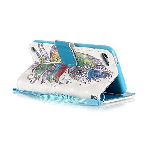 C-Super Mall-UK Apple iPhone 7 Plus hülle: exquisit gemalten 3D Muster PU-Leder Brieftasche Stand Flip hülle für Apple iPhone 7 Plus(Schwarzer Schädel) Colorful feathers