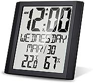 ساعة الحائط الرقمية مع درجة الحرارة والرطوبة 8.6 '' عرض كبير الوقت / التاريخ / أسبوع المنبه وغفوة ¬ °