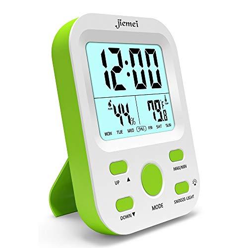 jiemei Sveglia digitale a batteria, sveglie per bambini e adulti con funzione snooze, retroilluminazione LCD Display grande, Smart Green