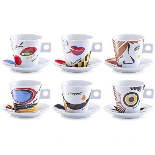 zeller-26506-set-per-cappuccino-12-pezzi-faces-porcellana