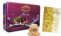 Skylofts Chocolate coated Almonds Tin Box with teddy soft toy & birthday card ( Dry Fruit Chocolates)