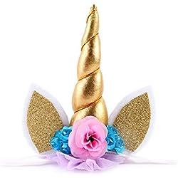 JMITHA Unicornio Cuerno Diadema con Flores Artificiales Accesorio de Pelo de Fiesta Diadema unicornio para Niñas Unicorn headbands (01)