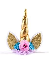 Jmitha Unicornio Cuerno Diadema con Flores Artificiales Accesorio de Pelo de Fiesta Diadema unicornio para Niñas Unicorn headbands