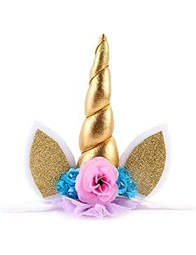 JMITHA Diadema elástica para disfraz, diseño con orejas y cuerno de unicornio