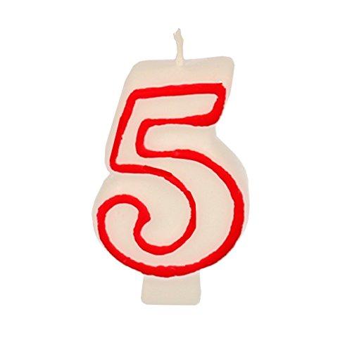 Partygram - Vela de Cumpleaños Número 5 - Blanca con Filo Rojo