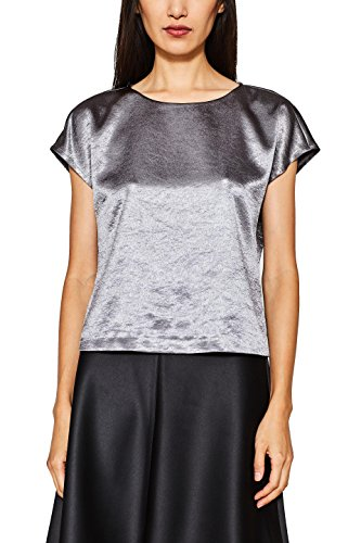 ESPRIT Collection Damen Bluse 117EO1F025, Grau (Dark Grey 020), Medium (Collection Grey Medium)