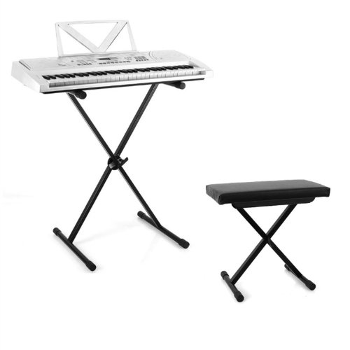 Keyboard Set 61 Tasten Home-Keyboard mit Keyboardständer und Keyboardbank (Aufnahmefunktion sowie Lernfunktion, Ständer & Hocker höhenverstellbar, integr. Lautsprecher) silber