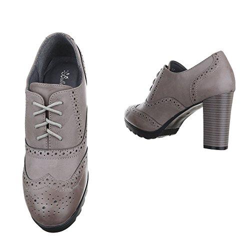 Ankle Boots Damen Schuhe Chelsea Boots Pump Perforierte Schnürsenkel Ital-Design Stiefeletten Hellgrau