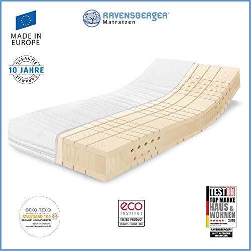 RAVENSBERGER TALALAY® Premium Latexmatratze 100{0b26f4153f78795b67356fef000f7a2390c04a3d229178b939d03c8795b471cb} Naturlatex   7-Zonen-Matratze H2+H3 RG 66 (45-120kg)   Made IN Germany - 10 Jahre Garantie   Oeko-TEX® 100 Baumwoll-Doppeltuch-Bezug   90 x 200 cm