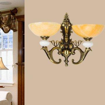 NEYWM Gehobene amerikanische Nordic Village schlafzimmer wohnzimmer Nachttischlampe Wandleuchte vintage aus massivem Messing Wandleuchte Leuchte Lampe Wandleuchte Spanien Marmor, Doppel-Kopf - Marmor Aus Massivem Messing