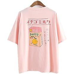 Himifashion Camiseta - Floral - Cuello Redondo - para Mujer Blanco Rosa Talla única